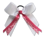 Pizzazz Breast Cancer Awareness Hair Bow with streamers