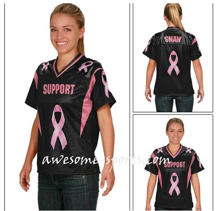 Breast cancer football jerseys