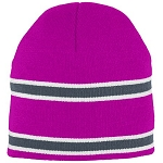 Augusta Pink Adult Striped Knit Beanie