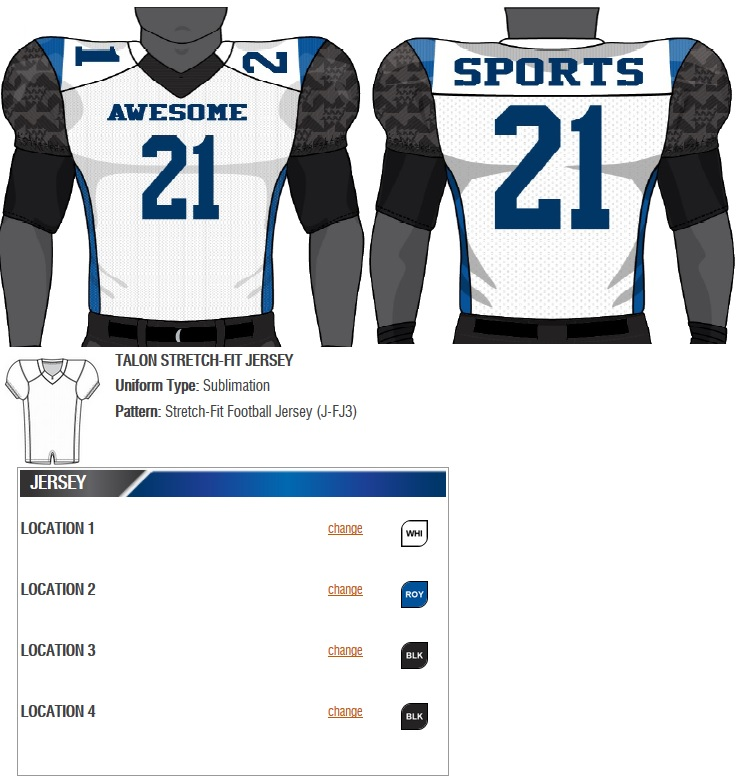 25a324f870f Champro Custom Football Jersey (Laser) - Sublimated Football Jersey