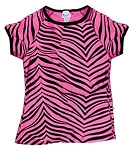 Clearance Pizzazz Pink Zebra Print Raglan Cap Sleeve Top