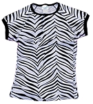 Clearance Pizzazz Zebra Print Raglan Cap Sleeve Tops