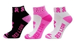 Red Lion Low Cut Pink Ribbon Footie Cancer Socks-CLOSEOUT