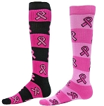 Red Lion Pink Ribbon Rugby Stripe Knee High Socks