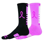 Red Lion Breast Cancer Awareness Mismatch Ribbon Legend Crew  Socks