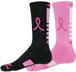 Red Lion Breast Cancer Awareness Mismatch Ribbon Legend Crew  Socks Closeout
