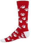 Red Lion Trails Paw Print Crew Socks Closeout