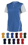 Russell Ladies Performance Two-Button Color Block Jersey