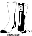 Clearance White/Black Twin City Colored Player ID Crew Sock (Sold Individually)