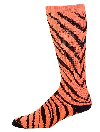 CLEARANCE Pizzazz Zebra Orange/Black Stripe Knee High Socks