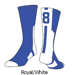 Clearance Royal/White Twin City Colored Player ID Crew Sock (Sold Individually)