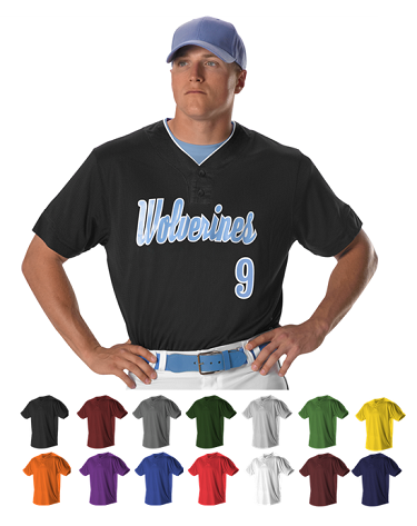 8a56dd4a9 Alleson Two Button Mesh Baseball Jersey with Piping