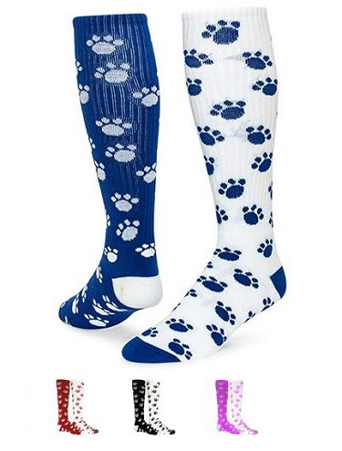 3d39ceefe3f Mismatched Paw Print Knee High Socks from Red Lion - Crazy and Funky Socks