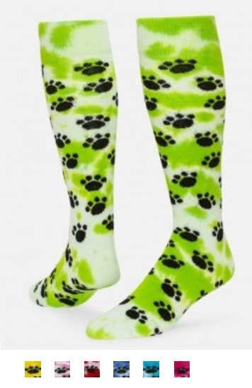 7740ed576cc Tie Dye Paws Knee High Socks By Red Lion