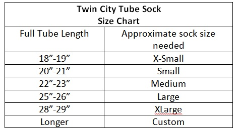 Twin City Tube Sock size Chart