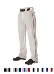 Baseball Pants by Alleson Open Bottom with Wide Leg Side Braid (Closeout)
