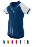Full Faux Button Down Softball Jersey by Augusta - Winner