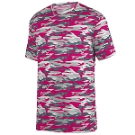 Augusta Mod Camo Wicking Tee-Power Pink