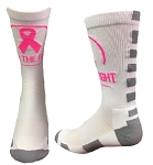 Breast Cancer Awareness Ribbon Crew Socks by Pearsox  (Join the Fight)