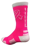 Breast Cancer Awareness Ribbon Crew Socks By Pearsox (Ribbon Dash)