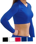 Crop Top by Pizzazz - V-Neck Solid