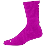 Pink Color Block Athletic Crew Socks by Augusta