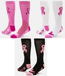 Breast Cancer Awareness Ribbon Crew Socks by Red Lion - Cure