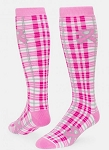Breast Cancer Awareness Plaid Ribbon Socks by Red Lion