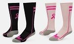 Breast Cancer Awareness Ribbon Crew Socks by Red Lion - Apex Socks