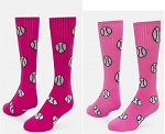 Pink Baseball/Softball Socks Knee High