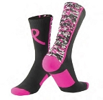 Breast Cancer Awareness Ribbon Crew Socks by Twin City - Digital Camo