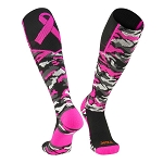 Breast Cancer Awareness Ribbon Knee High Socks by Twin City - Woodland Aware Camo