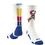 Custom Autism Ribbon Awareness Crew Socks by Twin City