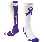 Custom Purple Ribbon Awareness Socks by Twin City