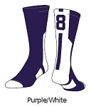 Clearance Purple/White Twin City Colored Player ID Crew Sock (Sold Individually)