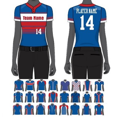 Custom Two Button Pro Neck Jersey Sublimated by Champro - Women/Girls'