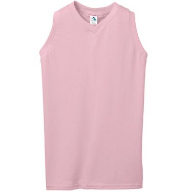 Augusta Ladies/Girls Pink Sleeveless Poly/Cotton V-Neck