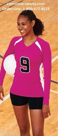 Augusta Spike Pink Long Sleeve Volleyball Jersey -CLOSEOUT
