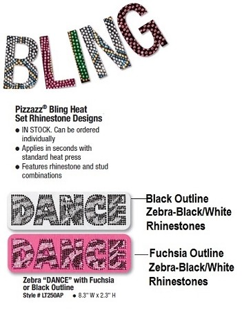 Pizzazz Bling Heat Set Rhinestone Designs Zebra Dance (Style 2)