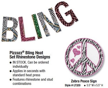 Pizzazz Bling Heat Set Rhinestone Designs Peace Sign (Style 6)