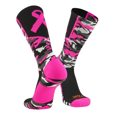 Breast Cancer Awareness Ribbon Crew Socks by Twin City - Woodland Aware Camo