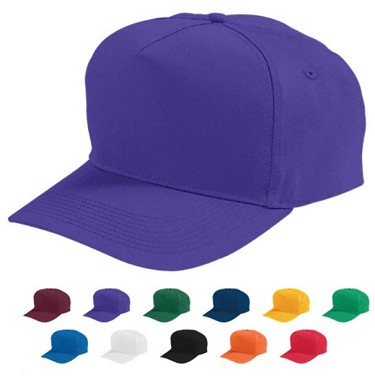 Snapback Baseball Caps by Augusta - Five-Panel Cotton Twill