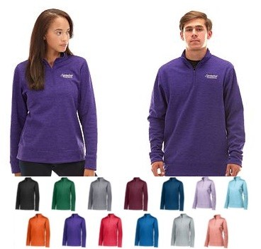 Pullover Long Sleeve by Augusta - 1/4 Zip Stoked Tonal Heather