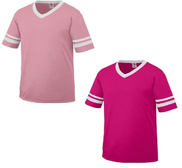Augusta Sleeve Stripe Pink T-Shirt Adult/Youth