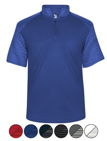 Pullover Short Sleeve by Badger Sport - Stripe Sleeve Quarter Zip-CLOSEOUT