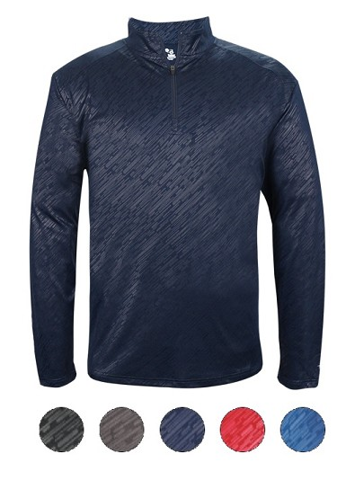 Pullover Long Sleeve by Badger - 1/4 Zip Line Embossed-CLOSEOUT