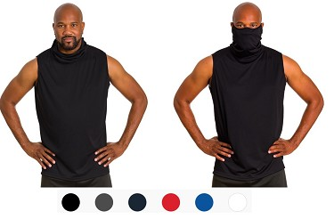 Athletic Sleeveless Tee with attached face mask - 2B1 Tee By Badger