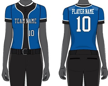 Custom Two-Button Short Sleeve Jersey Sublimated by Champro Women/Girls' (Backstop)