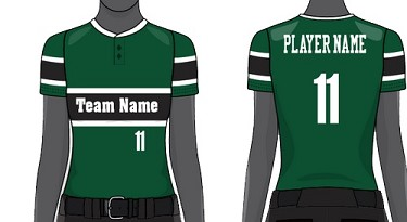 Custom Two-Button Short Sleeve Jersey Sublimated by Champro Women/Girls' (Throwback)