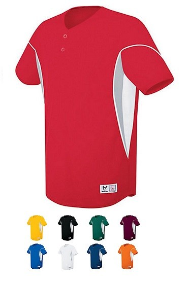 High Five Ellipse Two Button Baseball Jersey-CLOSEOUT